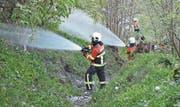 Die Feuerwehr Engelberg bei einer Waldbrandübung. (Bild: PD)