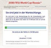 Virtuelle Warteschlange für den Vorverkauf zur Fussball-WM 2018. (Bild: Screenshot/Fifa)