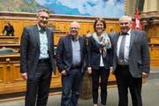Die vier Schwyzer Nationalräte an der Herbstsession (von links): Pirmin Schwander (SVP), Andy Tschümperlin (SP), Petra Gössi (FDP) und Alois Gmür (CVP). (Bild: Keystone/Lukas Lehmann)