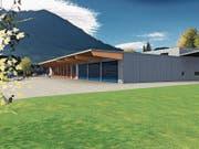 So soll der Werkhof (blau) mit dem bestehenden Feuerwehrlokal (rot) dereinst aussehen. (Bild: Visualisierung: PD)