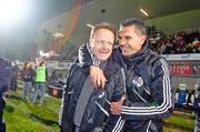 2010: Luzerns Trainer Rolf Fringer (links) und sein Assistent Petar Aleksandrov feiern auf dem Gersag viele Siege. (Bild: Philipp Schmidli / Neue LZ)