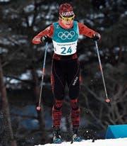 Die Luzernerin Nadine Fähndrich auf der Olympiastrecke in Südkorea. (Bild: Gian Ehrenzeller/Keystone (Pyeongchang, 13. Februar 2018))