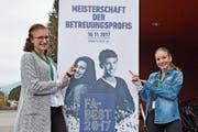 Svenja Jutz (links) und Nora Gnädinger erlebten einen spannenden Wettbewerbstag in Horw. (Bild: Andreas Gnädinger (18. November 2017))