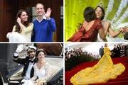 Sorgten 2015 für Schlagzeilen: Prinz William und Herzogin Kate, Miss Schweiz, Rihanna sowie Prinz Carl Philip und Sofia Hellqvist. (Bilder Keystone)