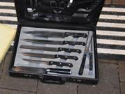 Ein mit Warnsymbolen versehener Koffer löste am Dienstagabend in Rorschach SG die Evakuation eines Zuges aus. (Bild: Kantonspolizei St. Gallen)
