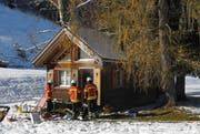 Die Feuerwehr Einsiedeln musste zum Glück nichts mehr löschen. (Bild: Kapo Schwyz)