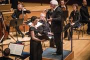 Überzeugend: die Luzerner Sopranistin Regula Mühlemann, begleitet vom Kammerorchester Basel. (Bild: Manuela Jans-Koch (30. März 2018))