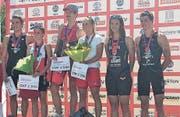Das Siegerpodest in Nyon mit der Urnerin Sara Baumann (Zweite von rechts). (Bild: PD (Nyon, 6. August 2017))