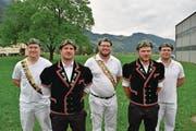 Die fünf Urner Kranzgewinner; von links: Matthias Herger, Stefan Arnold, Andi Imhof, Marco Wyrsch und Andy Murer. (Bild: Paul Gwerder (Alpnach, 2. Juli 2017))