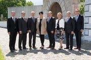 Die aktuelle Nidwaldner Regierung (von links): Othmar Filliger, Alfred Bossard, Ueli Amstad, Yvonne von Deschwanden, Res Schmid, Karin Kayser, Josef Niederberger sowie Landschreiber Hugo Murer. (Bild: PD)