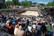 Die Beachvolleyball-Arena im Lido an einem Match der Beachvolley World Tour. (Bild: Urs Flüeler/Keystone (Luzern, 14. Mai 2015))