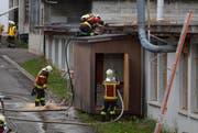 Brandbekämpfung auf dem Dach und vom Boden aus. (Bild: Geri Holdener, Bote der Urschweiz)