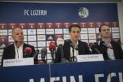 Sie informierten an der Medienkonferenz: CEO Marcel Kälin, Präsident Philipp Studhalter und Sportchef Remo Meyer. (Bild: Urs Flüeler / Keystone (Luzern, 5. Januar 2018))