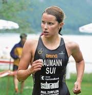 Wie hier beim Uri-Triathlon zeigte Sara Baumann auch in Nyon eine gute Laufleistung. (Bild: Josef Mulle (Seedorf, 2. Juli 2017))