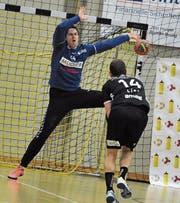 Fordert von seinen Mitspielern mehr Leistungskonstanz: Torhüter Christian Amrein, hier im Cupspiel gegen Pfadi Winterthur. (Bild: Urs Hanhart (Altdorf, 18. Oktober 2017))