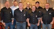 Der Vorstand der Freiwilligen Feuerwehr Flüelen; von links: Ralf Arnold, Pascal Arnold (neu), Patrik Müller, Richi Stadler, Jost Walker, Samuel Käslin und Lukas Walker. (Bild: Georg Epp (Flüelen, 3. Februar 2018))