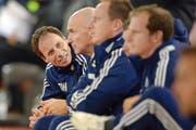 Erfolgreich: Luzerns Assistenztrainer Thomas Wyss (links) neben seinem Chef Carlos Bernegger. (Bild: Freshfocus/Andy Müller)