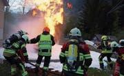 Am Kurs des kantonalen Feuerwehrverbands probten die Atemschutzgeräteträger den Ernstfall. (Bild: PD (Erstfeld, April 2017))