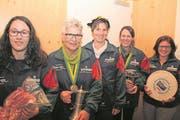 Die Frauen dominierten die diesjährigen Meisterschaften von der SG Spiringen: (von links) Alexandra Imhof, Heidi Bissig, Petra Furrer, Edith Arnold und Pia Kempf. (Bild: Paul Gwerder (Spiringen, 17. November 2017))
