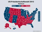 Das Ergebnis der Wahlen 2012: Amtsinhaber Barack Obama gewann das Rennen gegen den Republikaner Mitt Romney mit 332 gegen 206 Wahlmännern. (Bild: bac)
