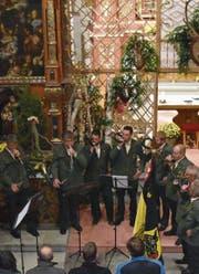 Die Jagdhornbläsergruppe Bärgarvä umrahmte die Messe musikalisch. (Bild: EG (Erstfeld, 5. 11. 17))
