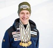 1, 2, 3, 4, 5 – zum Überprüfen: Marco Odermatt hatte in Davos das Abonnement auf die Goldmedaillen. (Bild: Manuel Lopez/Keystone (Davos, 6. Februar 2018))
