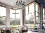 Freie Sicht auf den Kurpark: Eine Visualisierung zeigt, wie es im Esssaal des 5-Sterne-Hotels aussehen würde. (Bild: PD)