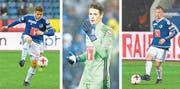Die FCL-Talente (von links): Filip Ugrinic, Jonas Omlin und Nicolas Haas. (Bilder: Martin Meienberger/Freshfocus und Marc Schumacher/Freshfocus)