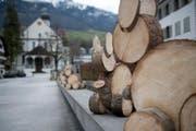 39 Hasen aus Baumstammrollen sind auf dem Sachsler Dorfplatz zu sehen. (Bild: Corinne Glanzmann (Sachseln, 28. März 2018))