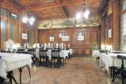 Erhabene Schönheit: Der Speisesaal im Restaurant Schiff ist im altdeutschen Stil gehalten. Er ist im Originalzustand von 1899 erhalten geblieben. (Bild: Stefan Kaiser / Neue ZZ)
