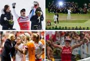 Auch Sie sorgten 2015 für Schlagzeilen: Didier Défago, Roger Federer, Daniela Ryf und Ramona Bachmann (von links). (Bilder Keystone)