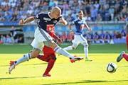 Ein Assist und ein Tor: FCL-Stürmer Marco Schneuwly trumpft in der Schlussphase gegen Sion ganz gross auf. (Bild: Philipp Schmidli)