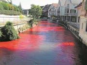 Färbversuch in der Sarneraa in Sarnen, dessen Resultate in die Projektierung der Hochwasserschutzprojekte geflossen sind. (Bild: Monika Bart/OZ)