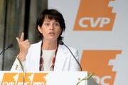 Bundesrätin Doris Leuthard fordert an der ersten «CVP-Landsgemeinde» in Sempach mehr bezahlbaren Wohnraum. (Bild: Keystone)