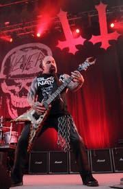 Gitarrist Kerry King von der Band Slayer, hier bei einem Auftritt in Ohio. (Bild: EPA / Steve C. Mitchell)