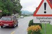 Die Signalisationsänderung zwischen Stans und Stansstad. (Archivbild: Markus von Rotz)