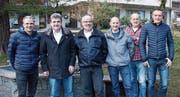 Von links: Vizepräsident Reto Gisler, Präsident Rolf Wipfli, Ehrenmitglied Bebby Brücker, Kassier Hanz Schuler, Sekretär Bruno Arnold und Beisitzer Dani Wipfli. (Bild: Karl Stadler (Seedorf, 14. Januar 2018))