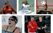 Die Ausnahmekönner (von links): Usain Bolt, Serena Williams, Neymar, Katie Ledecky sowie Novak Djokovic und Andy Murray. (Bild: Keystone)
