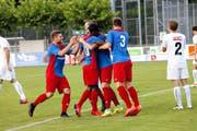 Der Sportclub feiert gegen Köniz im vierten Pflichtspiel der Saison den ersten Sieg. (Bild Werner Schelbert)