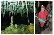 Ab nächstem Jahr kann man die spektakuläre Höhlenlandschaft der Schrattenhöhle auf Melchsee-Frutt erkunden. Rechts: Initiator Martin Trüssel in der Höhle. (Bild: PD/Martin Trüssel)