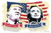 Wer macht das Rennen? Donald Trump oder Hillary Clinton? Im Verlaufe des Mittwochmorgen werden wir es wissen. (Bild: Grafik LZ / Janina Noser)