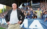 Als FCL-Präsident hatte Walter Stierli selbst die Fans im Griff – hier im Barrage-Heimspiel gegen Lugano. (Bild: Philipp Schmidli (Luzern, 13. Juni 2009))