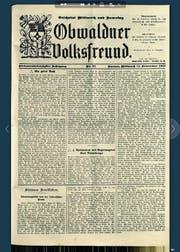 Nahm im Krieg kein Blatt vor den Mund: der «Obwaldner Volksfreund» vom 14. November 1917. (Bild: Staatsarchiv Obwalden)
