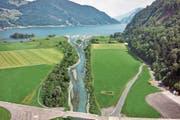 So könnte die Mündung der Sarneraa in Alpnach in Zukunft aussehen. (Bild: Visualisierung: Amt für Wald und Landschaft Obwalden)