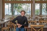 Sein neuester Betrieb in Luzern: Samuel Vörös (38) im Seehaus Restaurant & Bar an der Lidostrasse. (Bild: Nadia Schärli (Luzern, 26. September 2017))