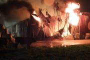 Beim Brand eines Rinder-Mastbetriebs in Kriessern im Kanton St. Gallen sind in der Nacht auf Sonntag rund 100 Tiere verbrannt. (Bild: Kapo SG)