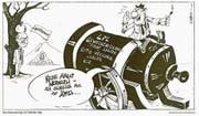Karikatur zum verkehrspolitischen Gegenwind, der Baudirektor Werner Schnieper entgegenschlug. (Archivbild: LZ/Niels Kneubühler (14.11.1997))