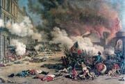 Beim Sturm auf die Tuilerien sterben Schweizer Söldner für den König gegen die Revolution (Gemälde von Jean Duplessis-Bertaux, 1793). (Bild: PD)