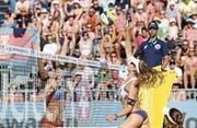 Auf dem Sprung nach oben: Nina Betschart (Nummer 2) – hier am Turnier im kroatischen Porec. (Bild: Luka Stanzl/Freshfocus (Porec, 1. Juli 2017))