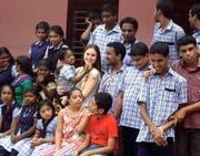 Isabel Christen an einer Behindertenschule im indischen Neendakara. (Bild: PD)